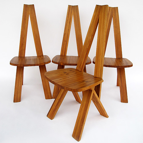 Set of 4 chairs Pierre Chapo 1970