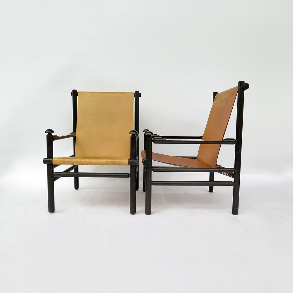 "Paire de chaises coloniales type ""Safari"" 1950"