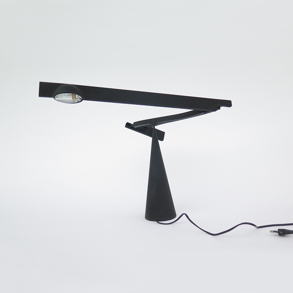 Matte black lamp by Mario Barbaglia and Marco Colombo for Italiana Luce 1990