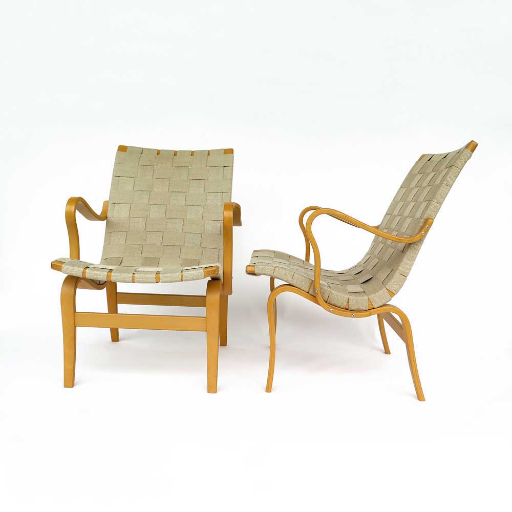 Pair of chairs Eva designed by Bruno Matsson edition Dux 1960-1970