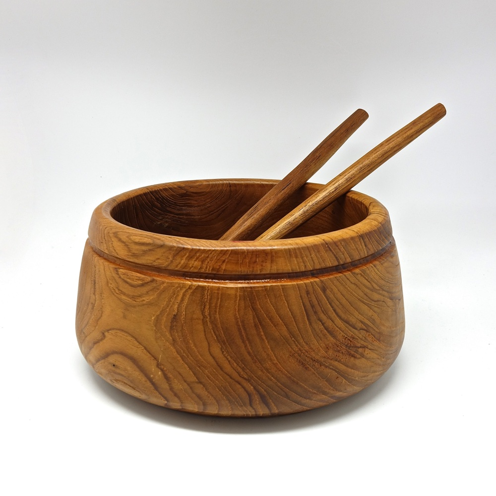 set salad bowl teak and service