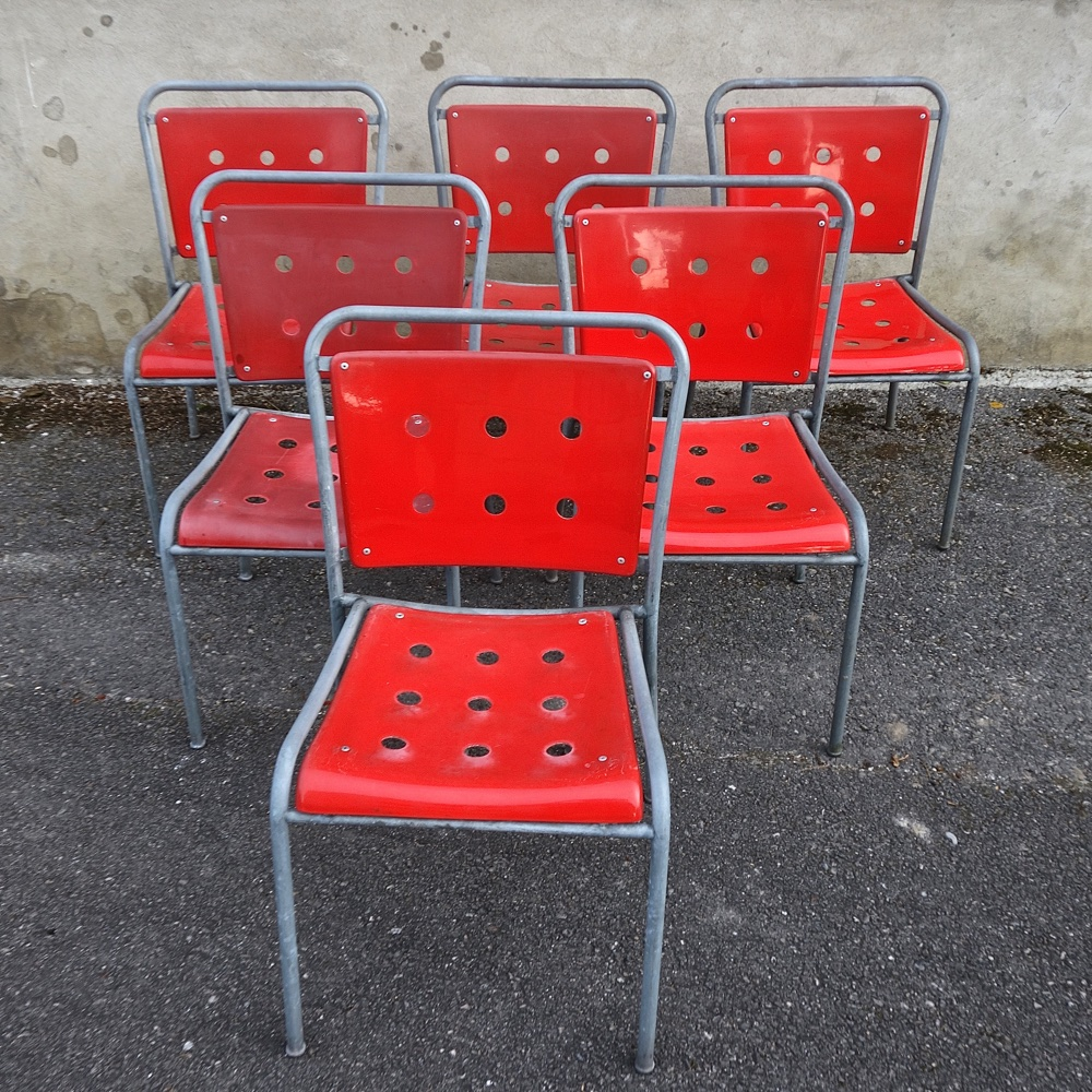 Garden chairs in tubular steel and fiberglass  Stella 1960