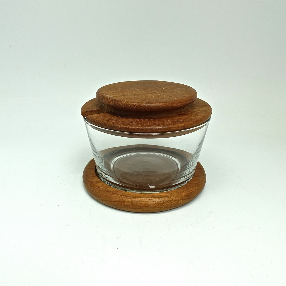 sugar bowl teak and glass 1960