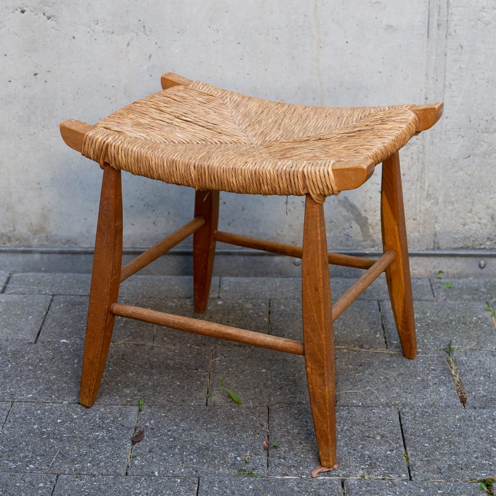 Swiss stool made of solid wood and straw 1960