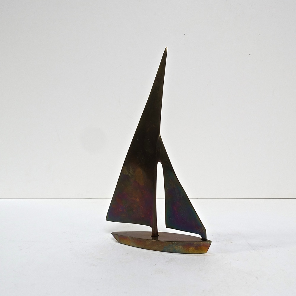voilier sculpture en bronze 1970
