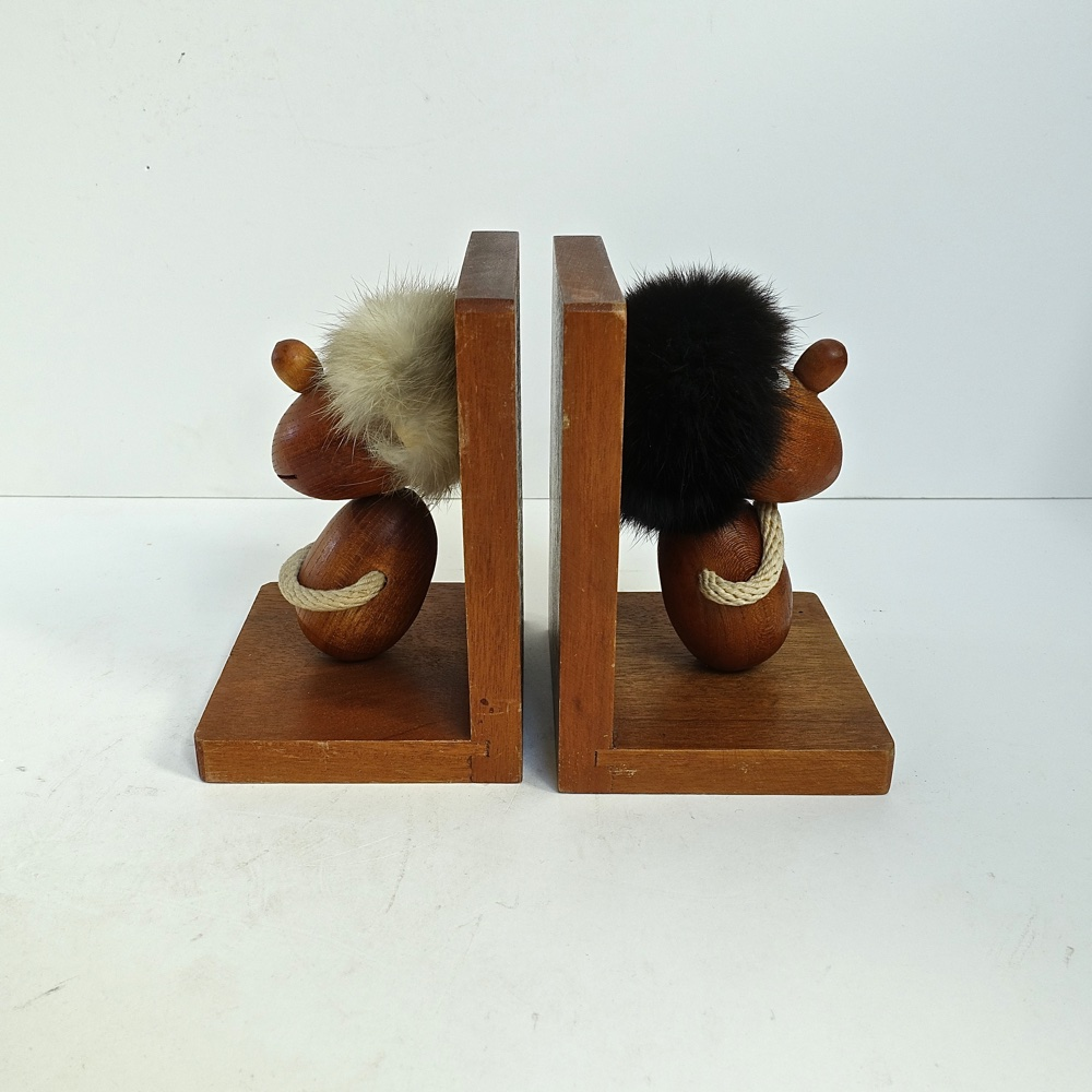 teak bookends optimist and pessimist Hans Bolling