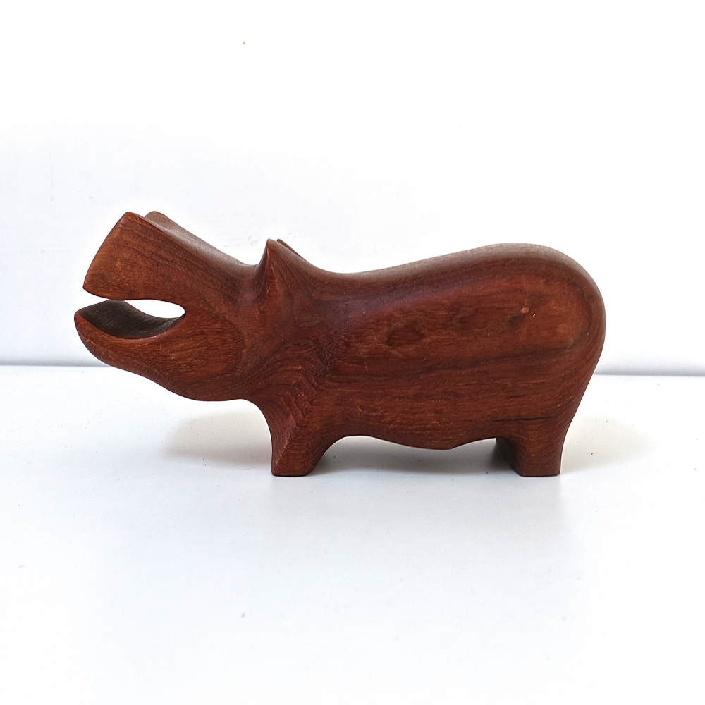 carved teak hippopotamus  J. Bentsen for the P. Broste 1970