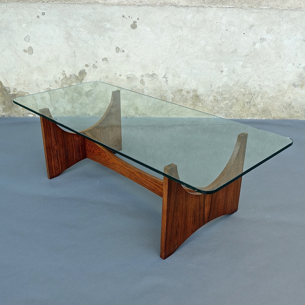large coffee table rosewood and glass 1970