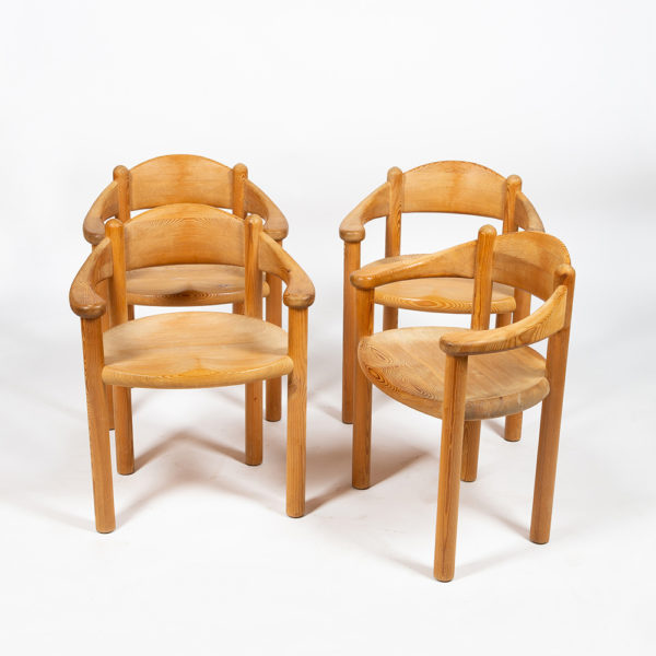 Set of 4 chairs by Rainer Daumiller in pine from the 60's