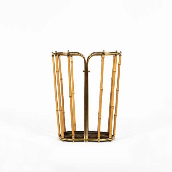 Bamboo and gilded brass umbrella holder, Austria circa 1950