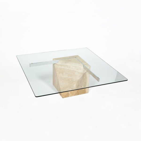 Coffee table with travertine base, Artedi edition circa 1970